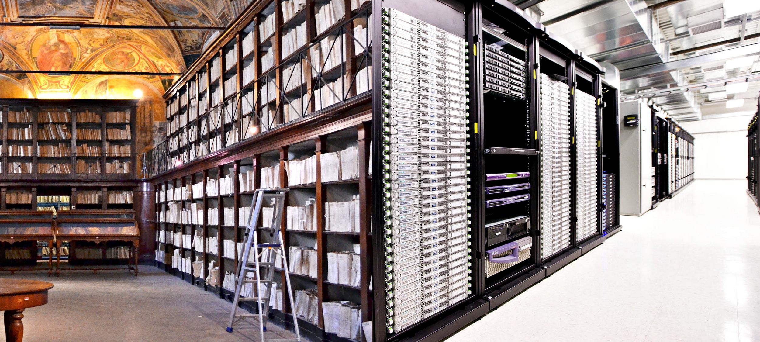 Interno di una biblioteca del XVII secolo e moderni server dove sono archiviati i dati.