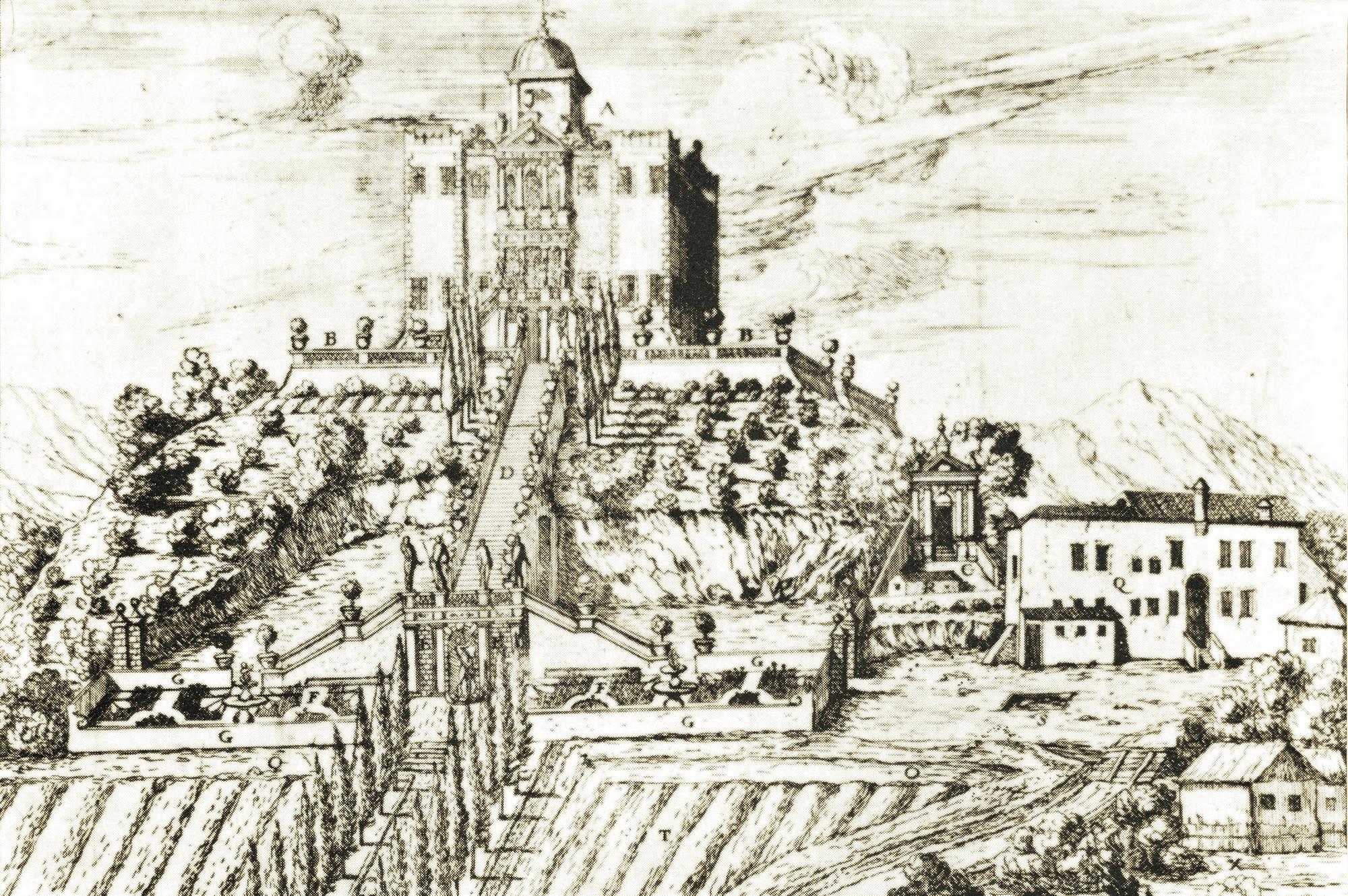 Battaglia, Colle delle Stufa. L'oratorio di S. Elena, tra la villa Selvatico e i bagni vecchi, in un'incisione del 1657.