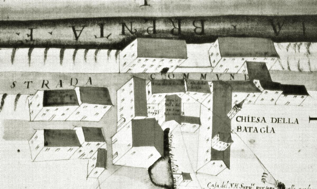 La seconda chiesa di Battaglia in un disegno del 1686.