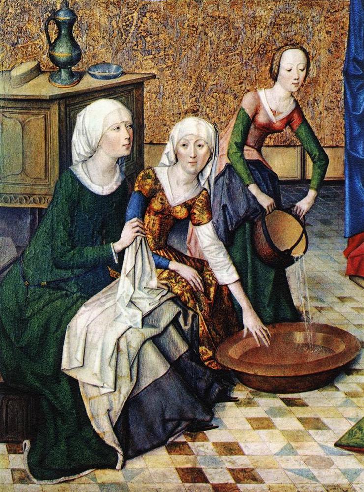Maestro della Vita di Maria, Natività della Vergine, particolare, 1460-1465. Monaco di Baviera, Alte Pinakothek.