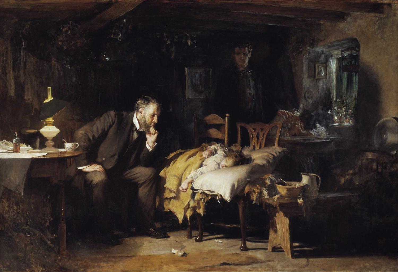 Simbolo della generosità dei medici condotti, l'opera raffigura la visita ad un bambino appartenente ad una famiglia povera, gravemente ammalato.