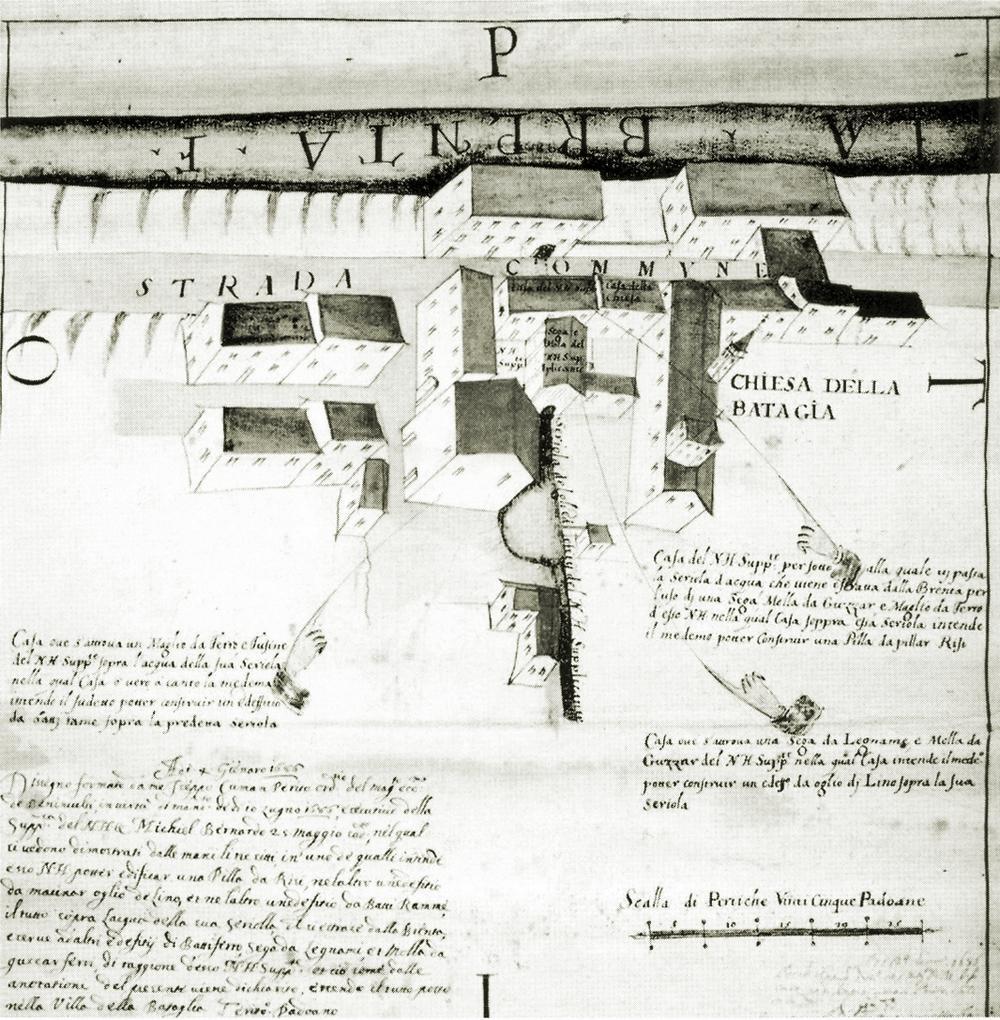 Battaglia, 1686. Nucleo abitativo sorto attorno alla chiesa.