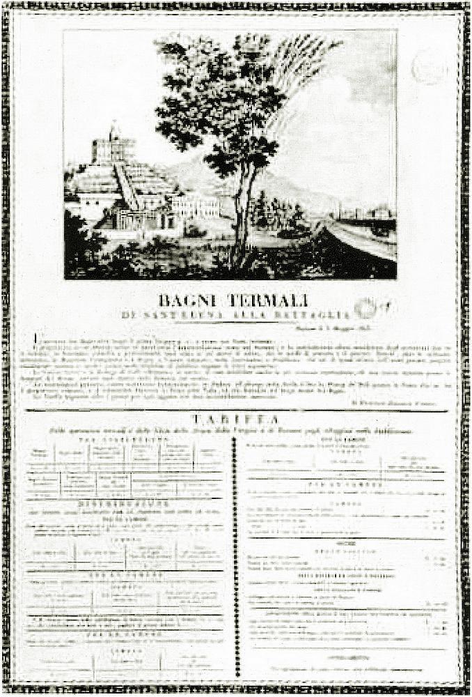 Avviso di apertura dei bagni termali per il giorno 3 maggio 1823.