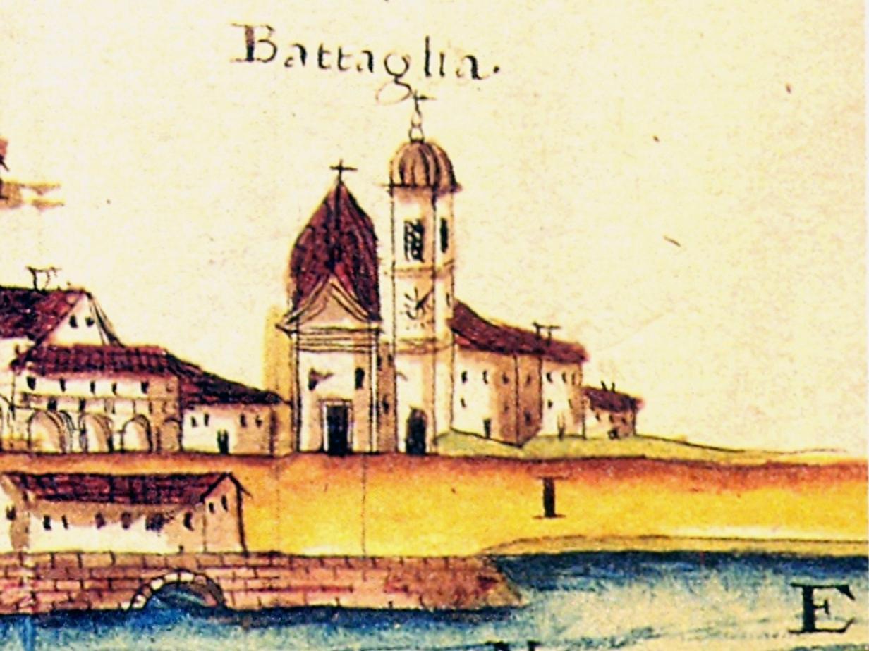 La terza chiesa di Battaglia in un disegno acquarellato del 1740.