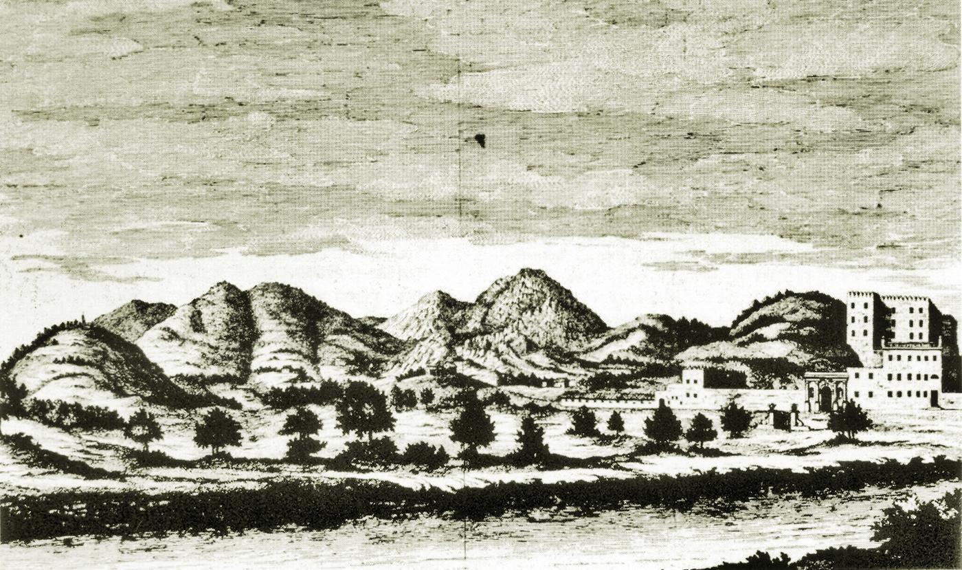 Il Cataio e la catena dei monti che delimitano la zona oggi chiamata Ferro di Cavallo (XVIII secolo).