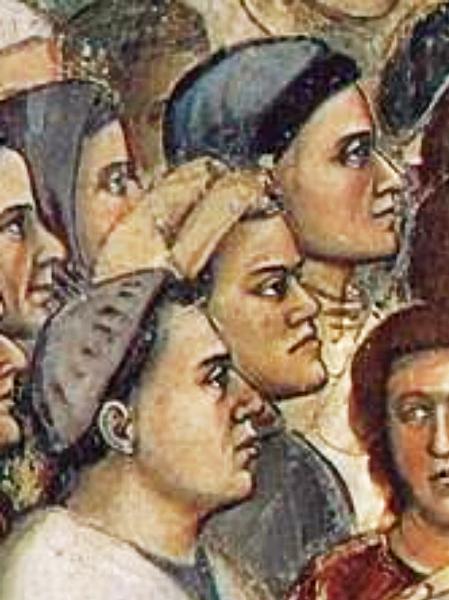 I presunti volti (dall'alto verso il basso) di Dante, Giotto e Nicola Pisano.