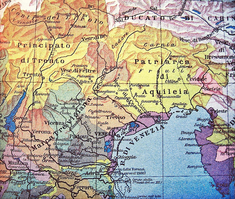La cartina mostra il territorio veneto al tempo di Dante.