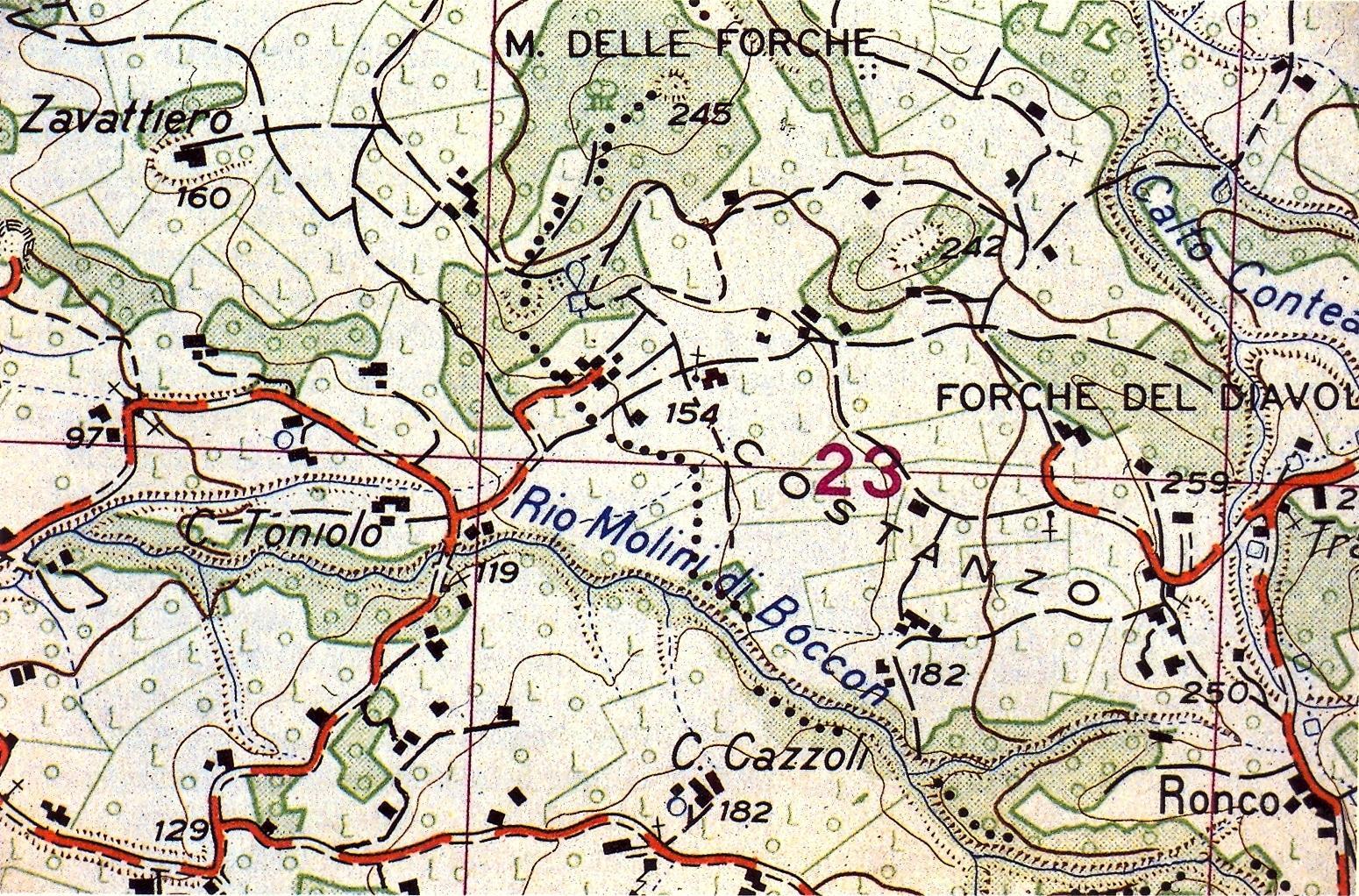 Il tracciato del calto Rio Molini di Boccon nella carta topografica dell'Istituto Geografico Militare.