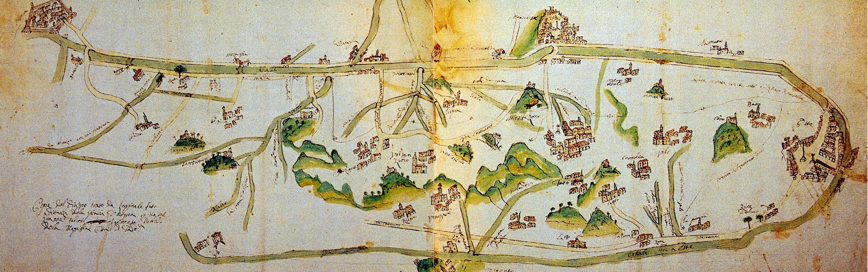 Rilievo di Giovanni Falconi del 1675 in cui sono indicati gli abitati più importanti insediati tra i calti e il canale Battaglia-Bisatto.