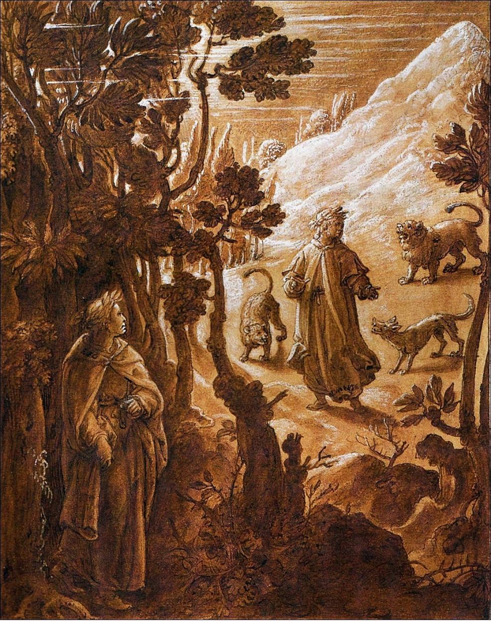 Jan van der Straet (Giovanni Stradano), Dante fugge le tre bestie, Inferno Canto I.