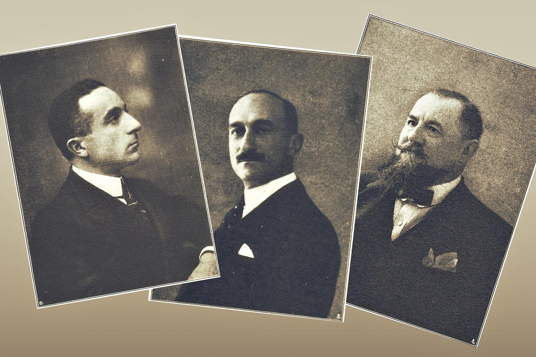 I benemeriti delle industrie di Battaglia - Terme. Da sinistra, il rag. Castelletto, il conte Corinaldi e l'ing. Croce.