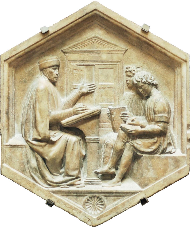Luca della Robbia, Prisciano, o la grammatica, formella in marmo.