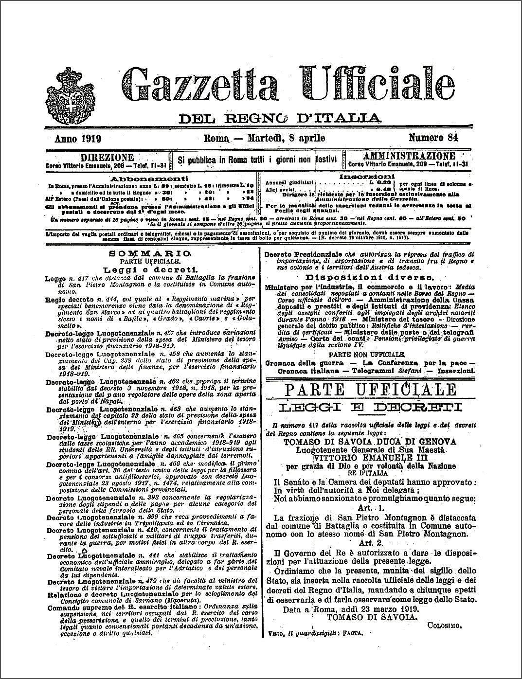 La prima pagina della Gazzetta Ufficiale dell'8 aprile 1919, in cui venne pubblicata la Legge 23 marzo 1919 N. 417.