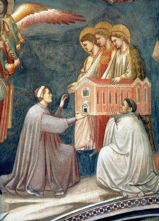Enrico Scrovegni offre alla Madonna il modello della Cappella (particolare del Giudizio universale).