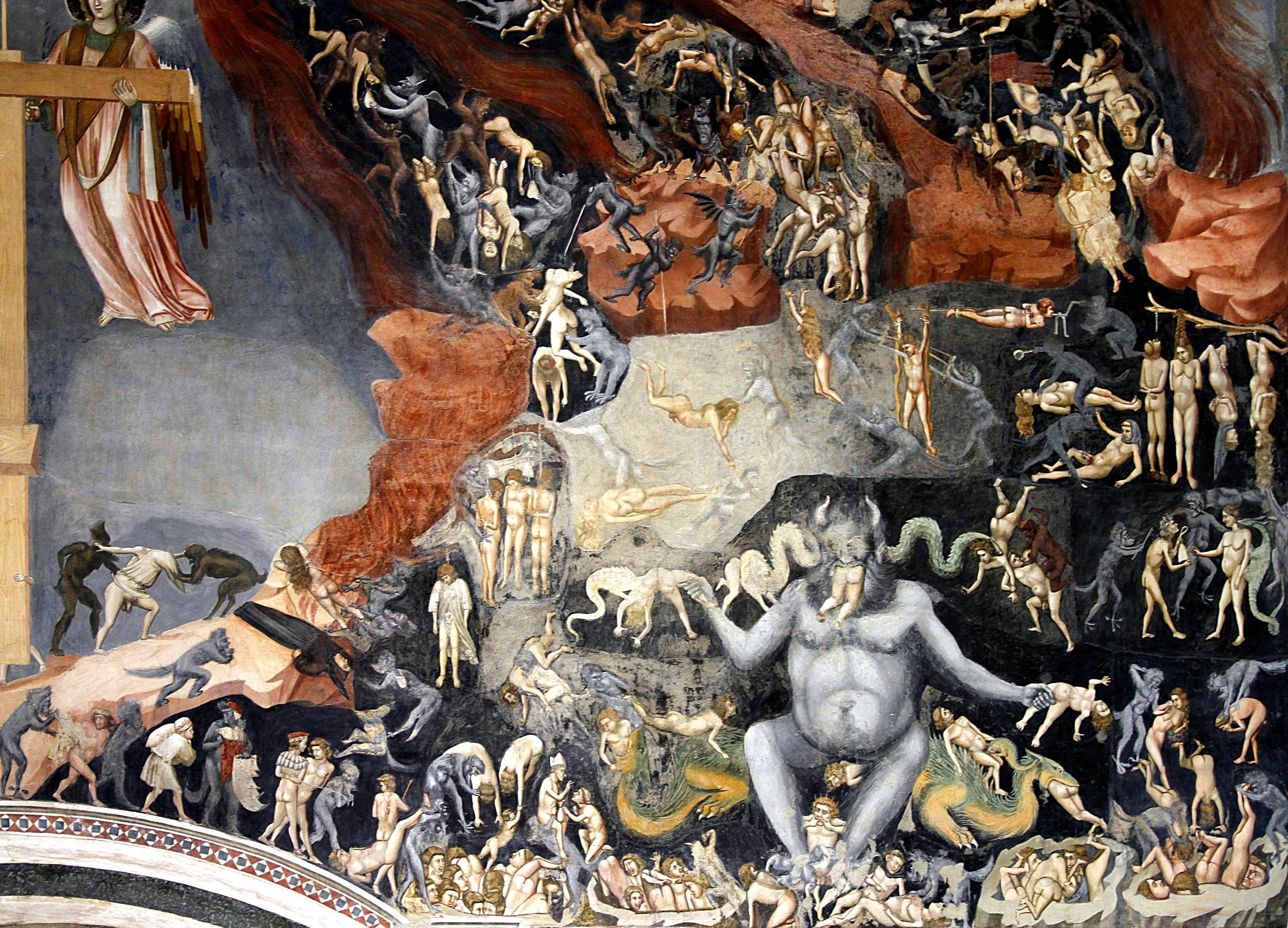 Giotto, Giudizio universale, particolare dell'Inferno. Padova, Cappella degli Scrovegni.