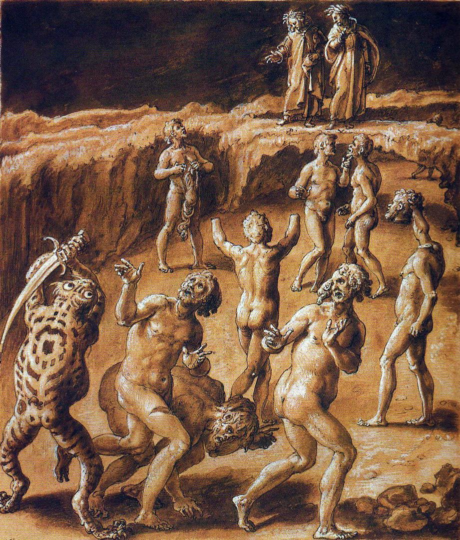 Giovanni Stradano, Seminatori di discordie. Inferno, Canto XXVIII.