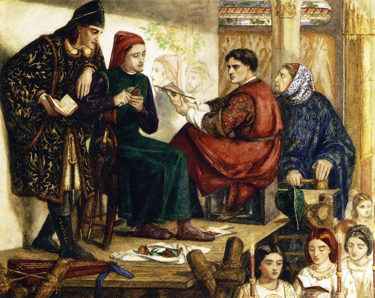 Dante Gabriel Rossetti, Giotto che dipinge il ritratto di Dante.