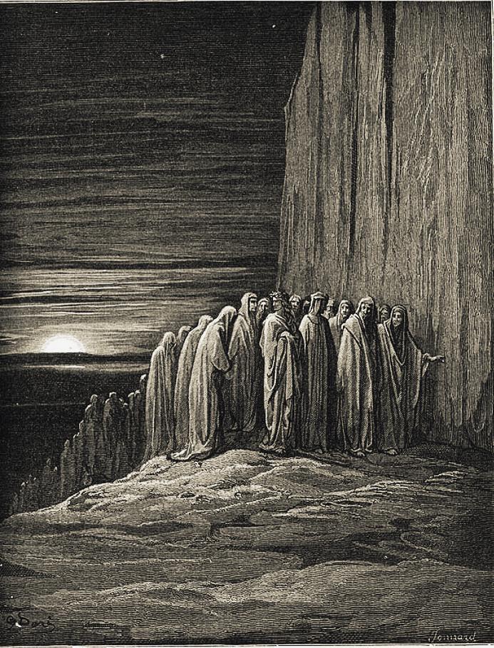 Gustave Doré, gli accidiosi (Purgatorio, Canto XVIII).