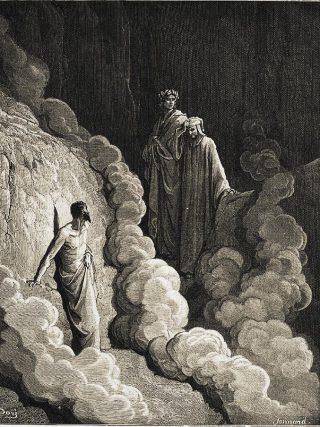 Gustave Doré, Dante e Virgilio incontrano Marco Lombardo (Purgatorio, Canto XVI).