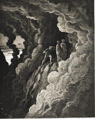 Gustave Doré, Marco Lombardo segue i due poeti (Purgatorio, Canto XVI).