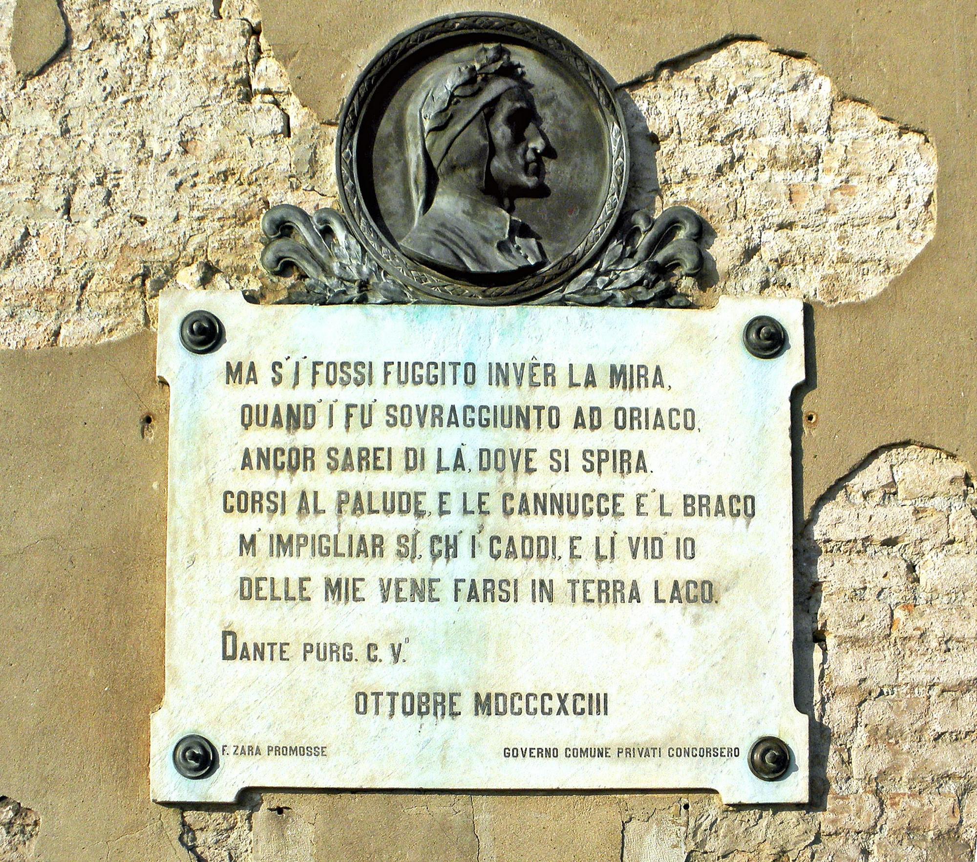 Facciata di Palazzo Moro ad Oriago, versi 79-84 del Canto V del Purgatorio.