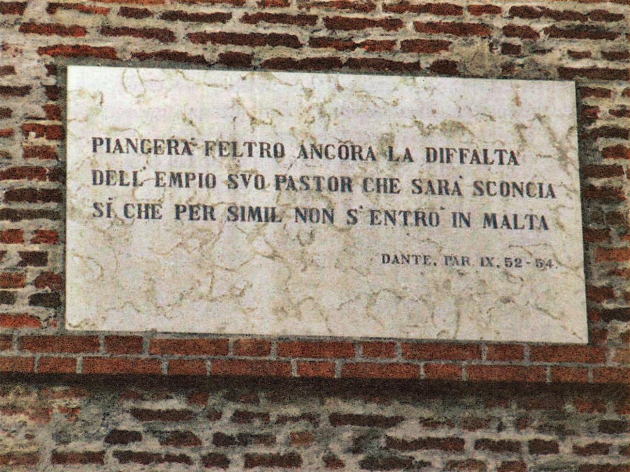 I versi 52-54 del Canto IX sulla Torre di Malta.