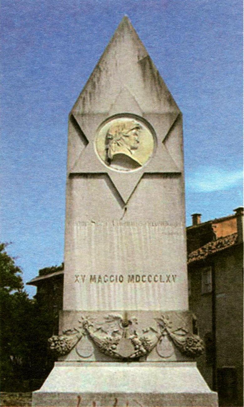 Cippo sul ponte di Dante a Treviso che ricorda il verso 25 del Canto IX del Paradiso.
