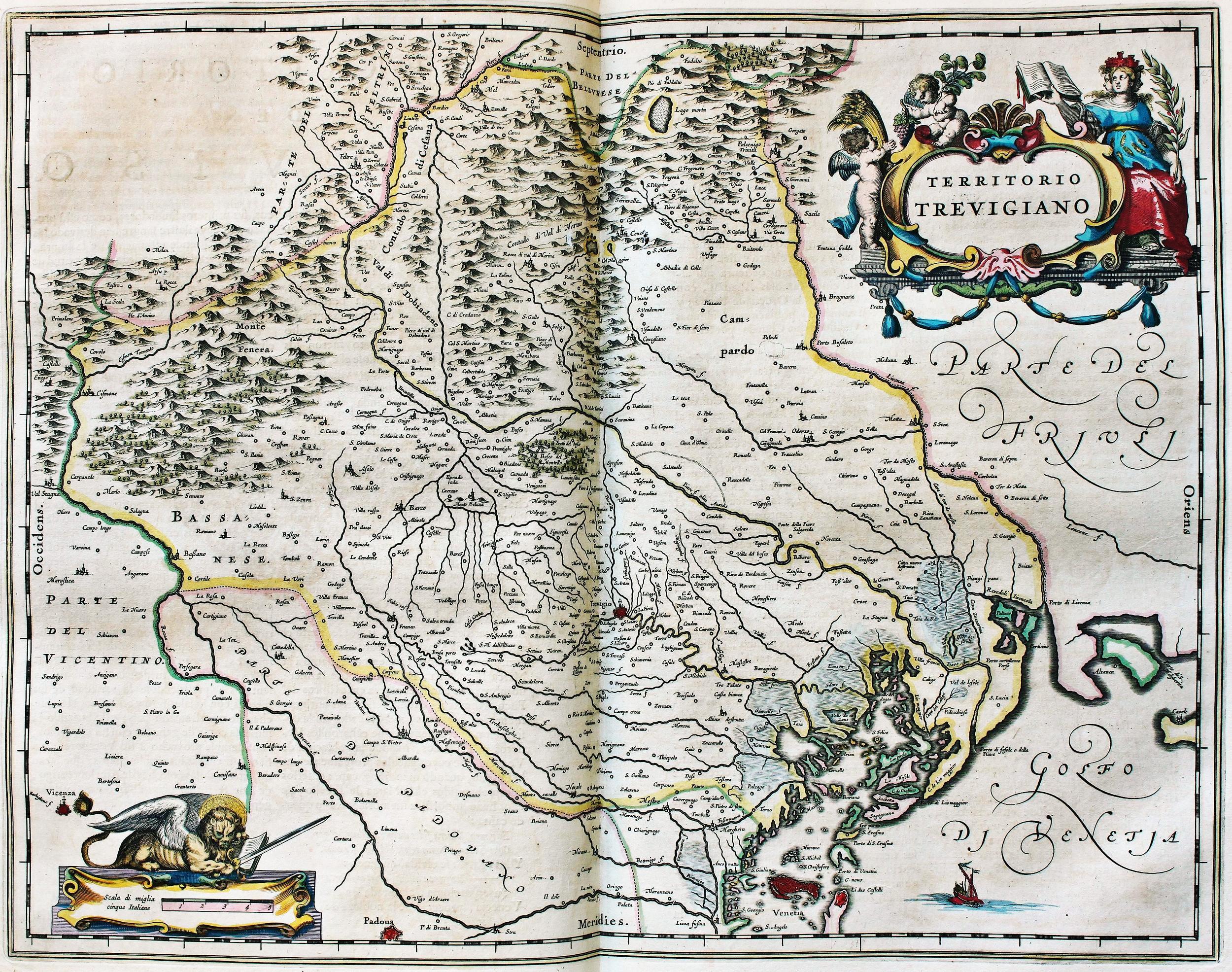 Territorio Trevigiano, opera del cartografo olandese Joan Blaeu.