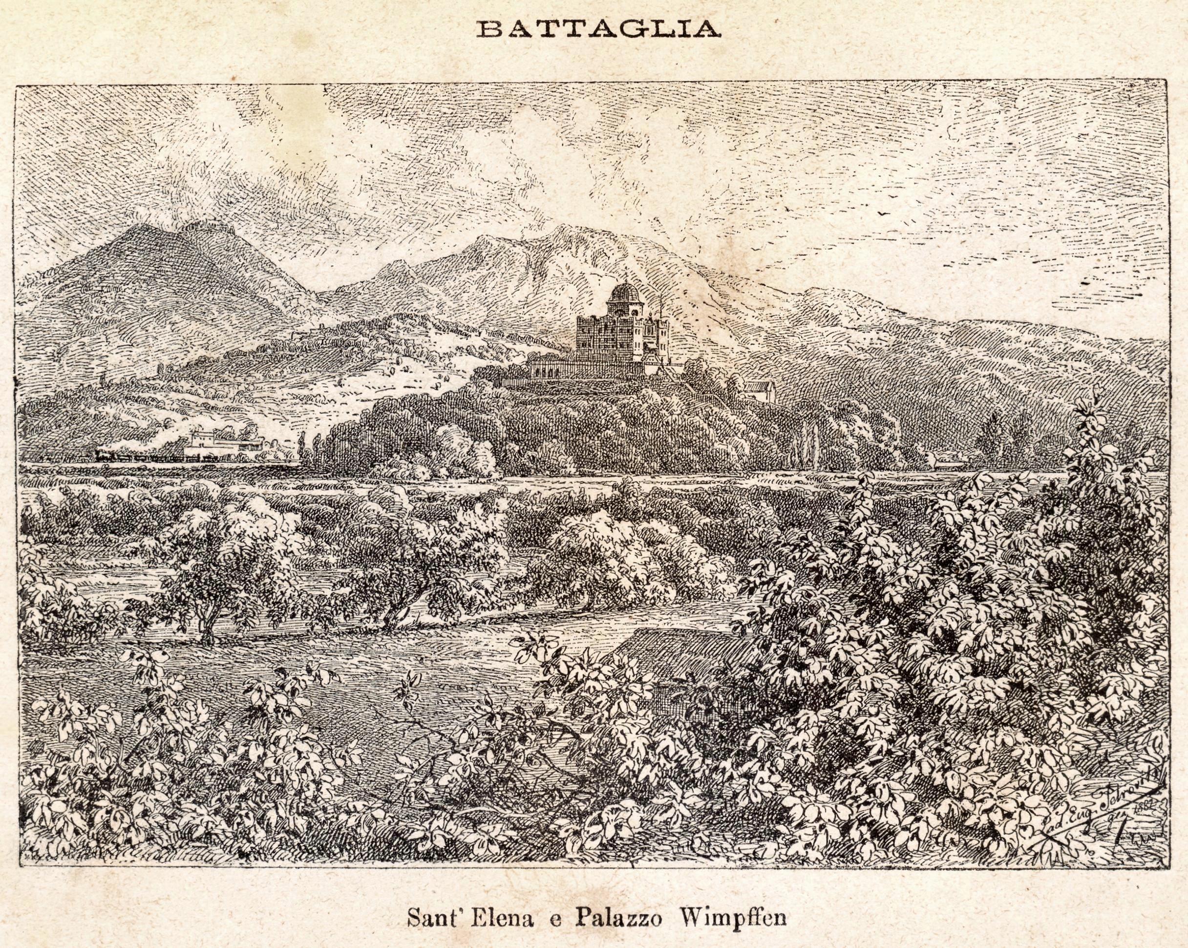 Gli stabilimenti e le acque termali di Battaglia si trovano ai piedi del Colle Sant'Elena. Sulla sommità del colle, il Palazzo Wimpffen, già Selvatico.