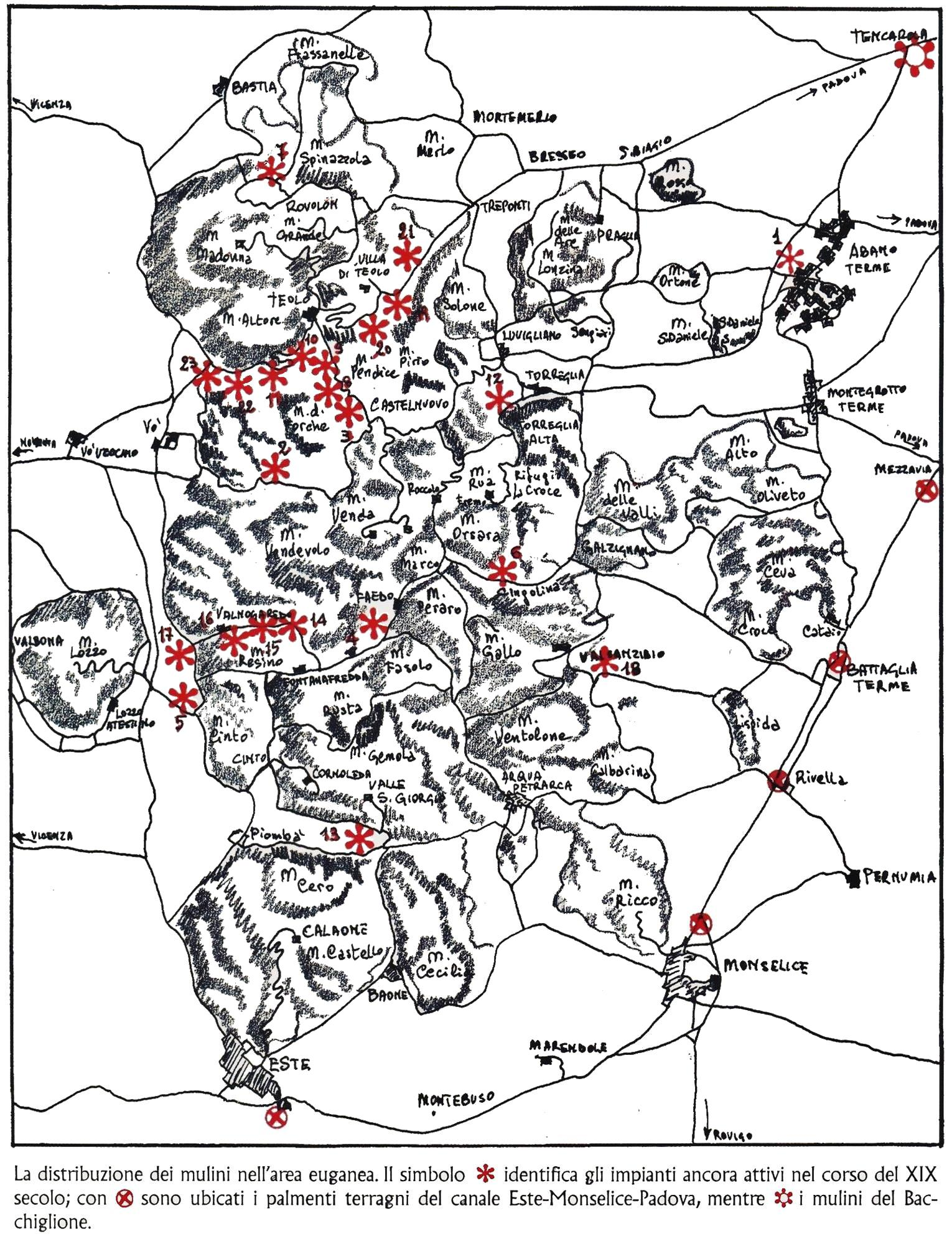 La distribuzione dei mulini nell'area euganea.
