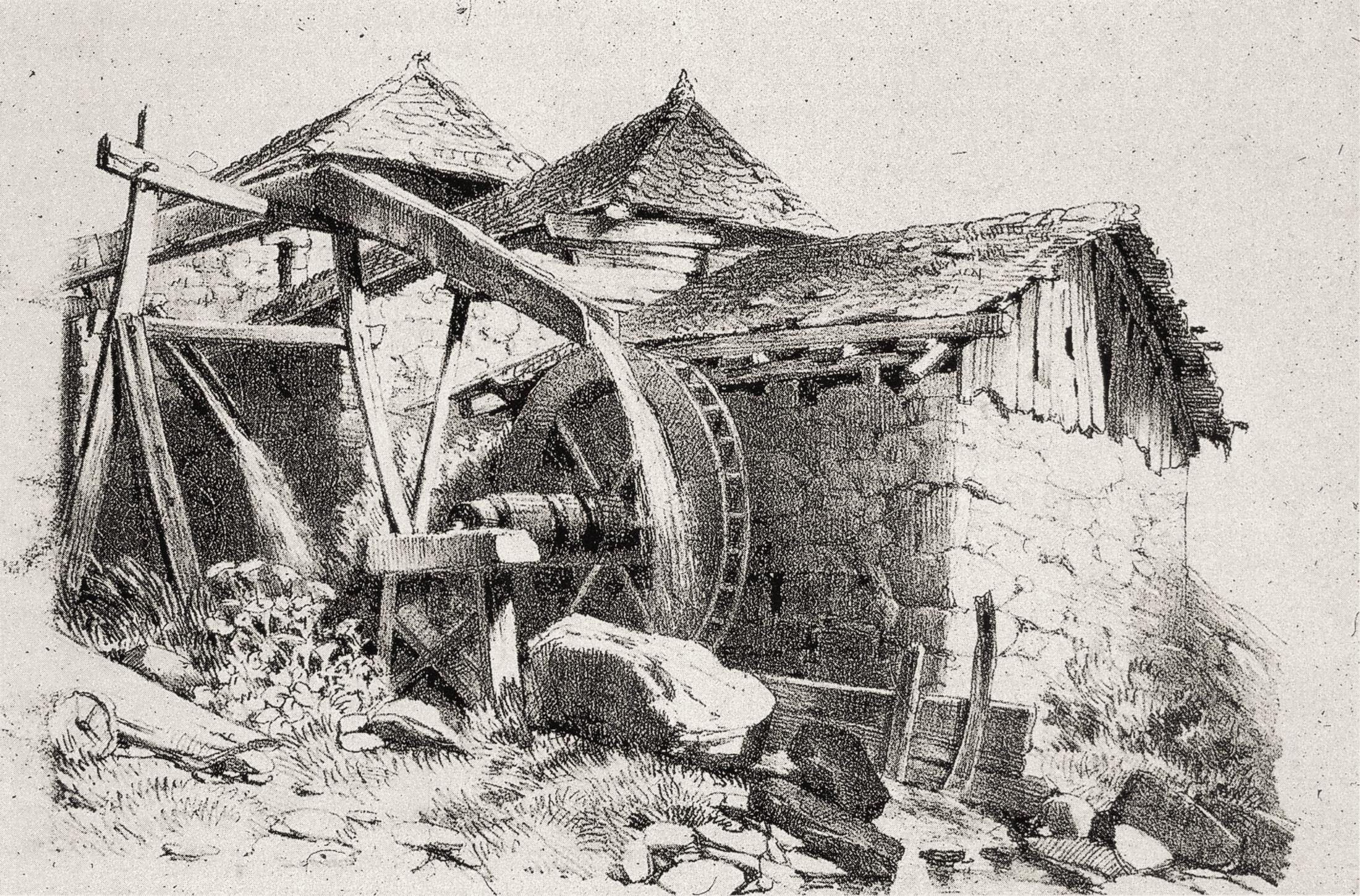 Doccia e ruota a coppedello, incisione del secolo XIX.
