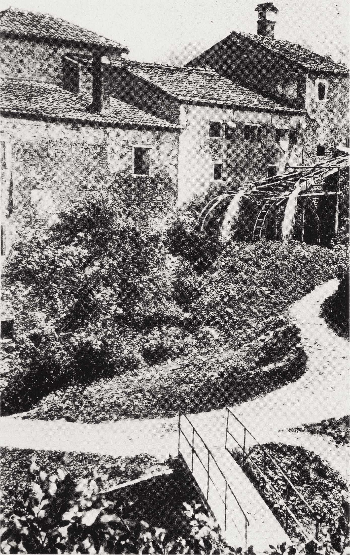 Torreglia, il mulino di Val del Rio in una foto del 1920 circa.