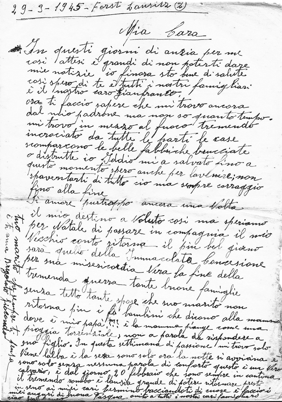 La lettera di Bregolato Taddeo alla moglie del 29 marzo 1945. I suoi cari gli erano sempre presenti.