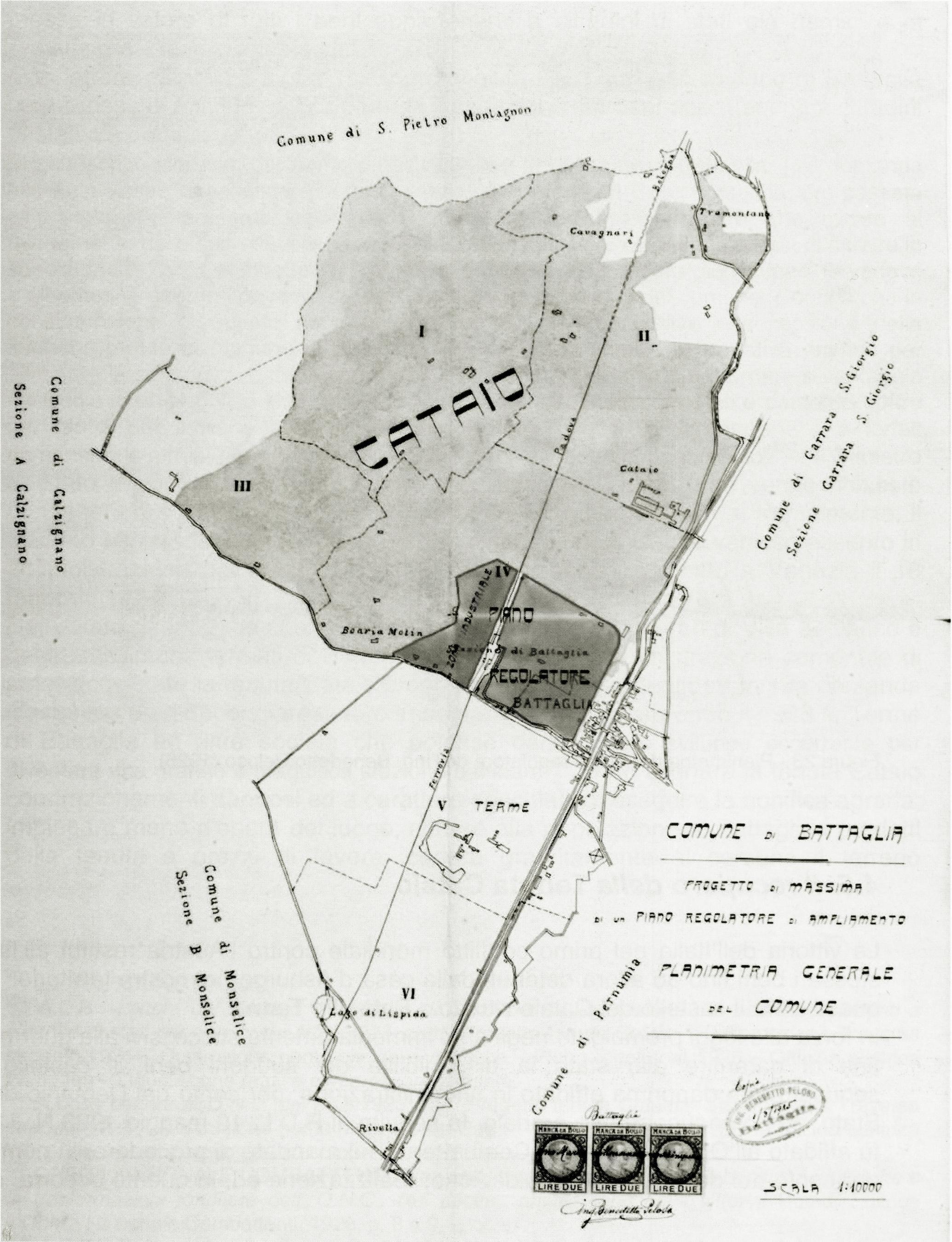 Zona interessata dal Piano Regolatore di Battaglia del 1925.
