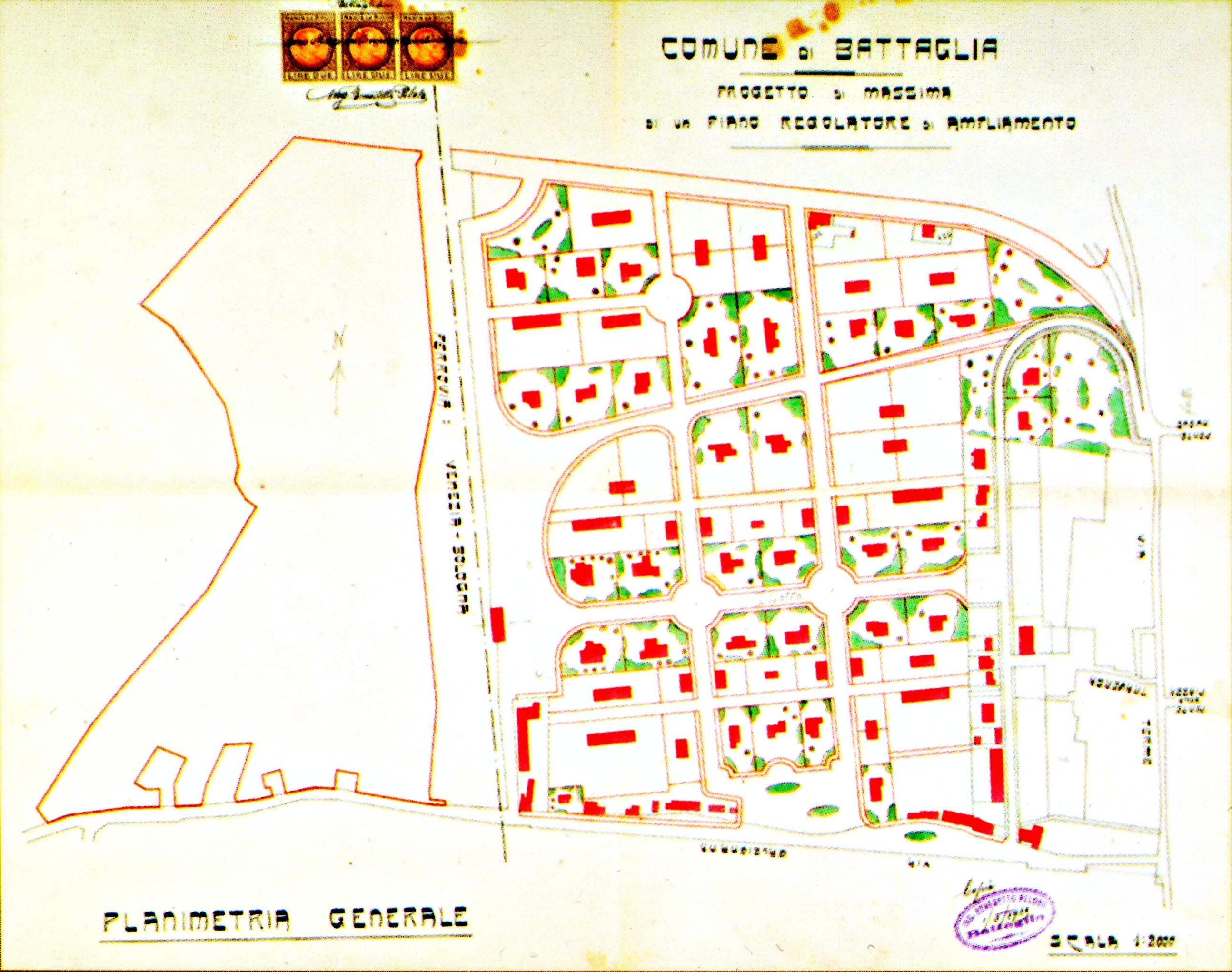 Planimetria del Piano regolatore di Battaglia del 1925.