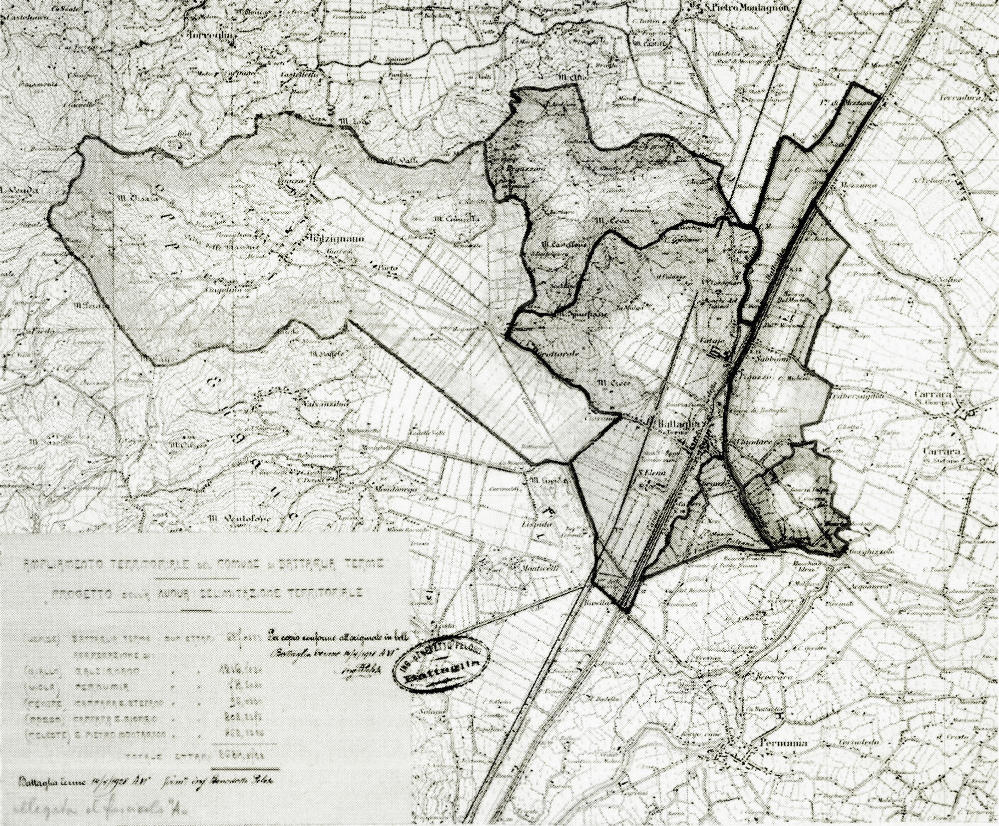 Planimetria riguardante il primo Piano di ampliamento territoriale di Battaglia (Pd).