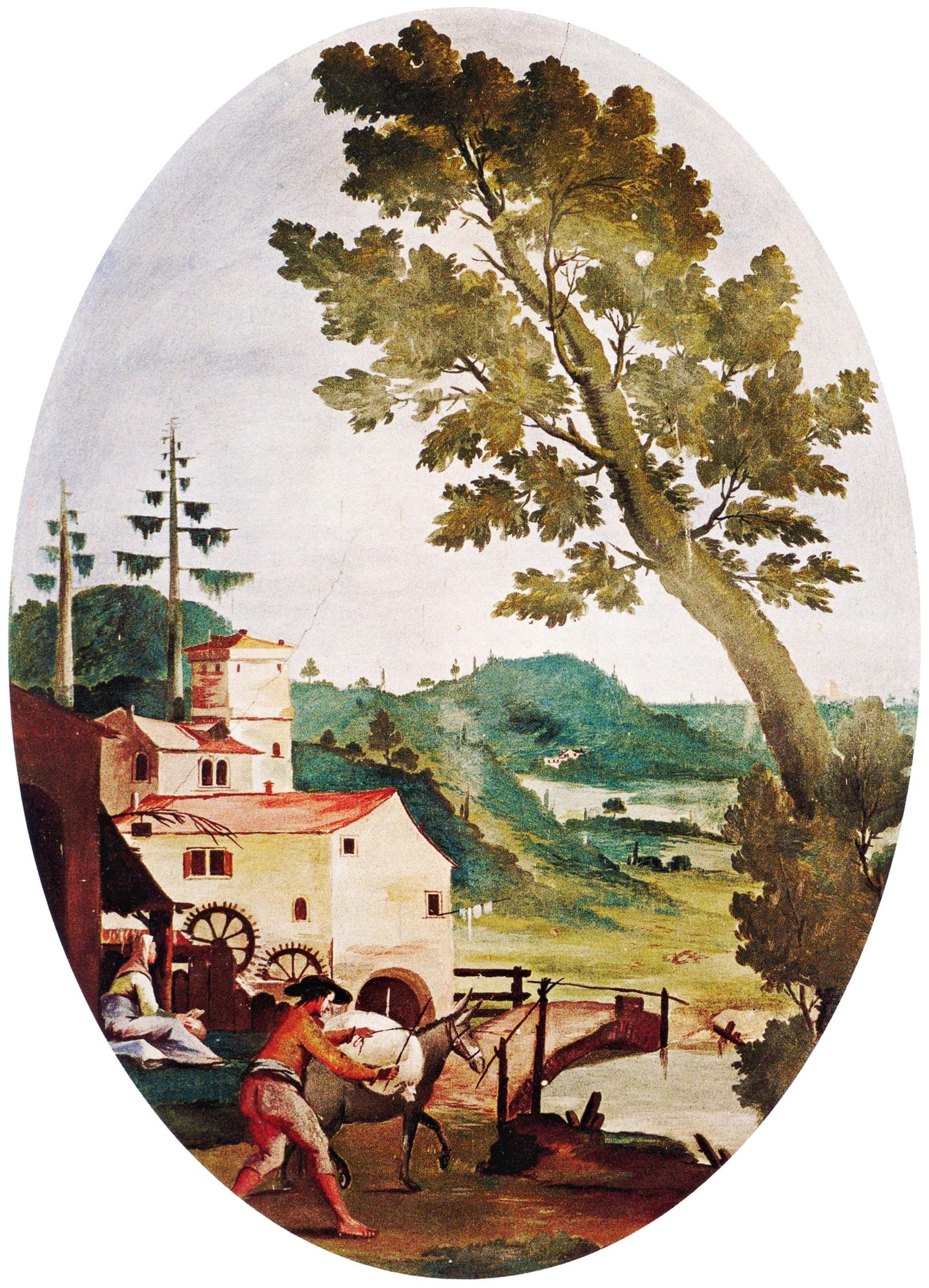 Abano Terme, mulino. Tempera risalente alla fine del XVIII secolo.