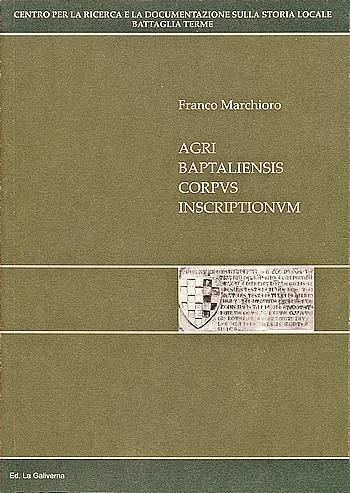 "La copertina del libro ""Agri baptaliensis corpus inscriptionum""."