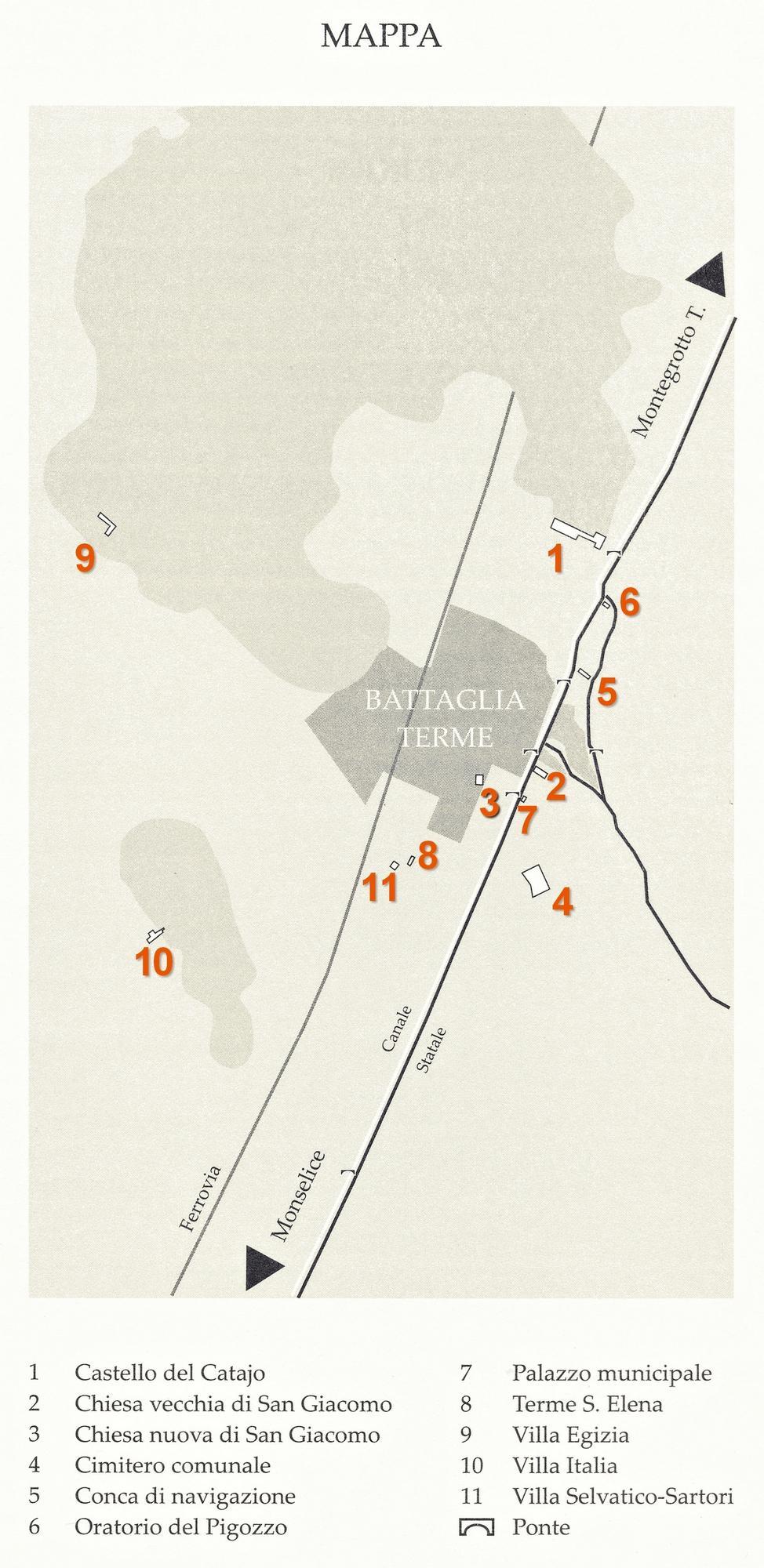 Battaglia Terme, mappa con la collocazione delle iscrizioni.