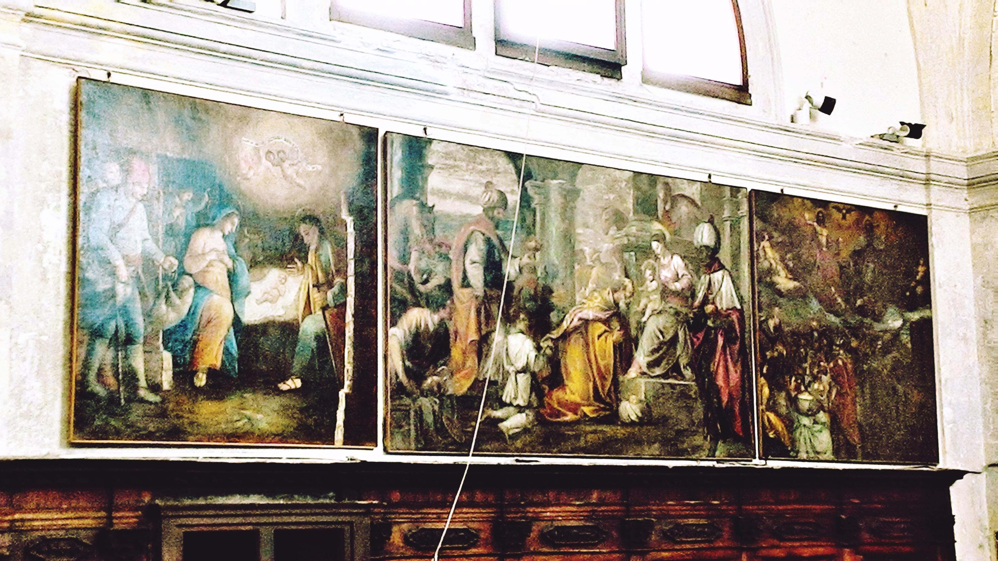 Vecchia chiesa di Battaglia Terme, le tre tele addossate alla parete settentrionale del presbiterio.