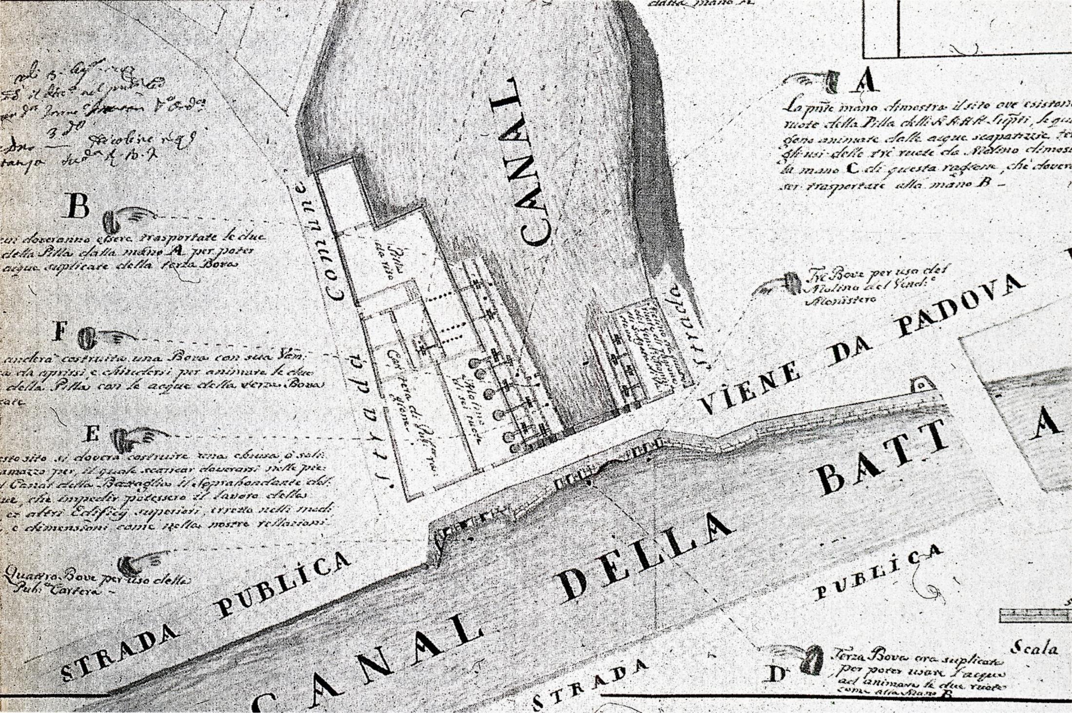 Battaglia Terme, 1787. A sinistra del canale il Mulino dei Sei, a destra il Mulino dei Quattro.
