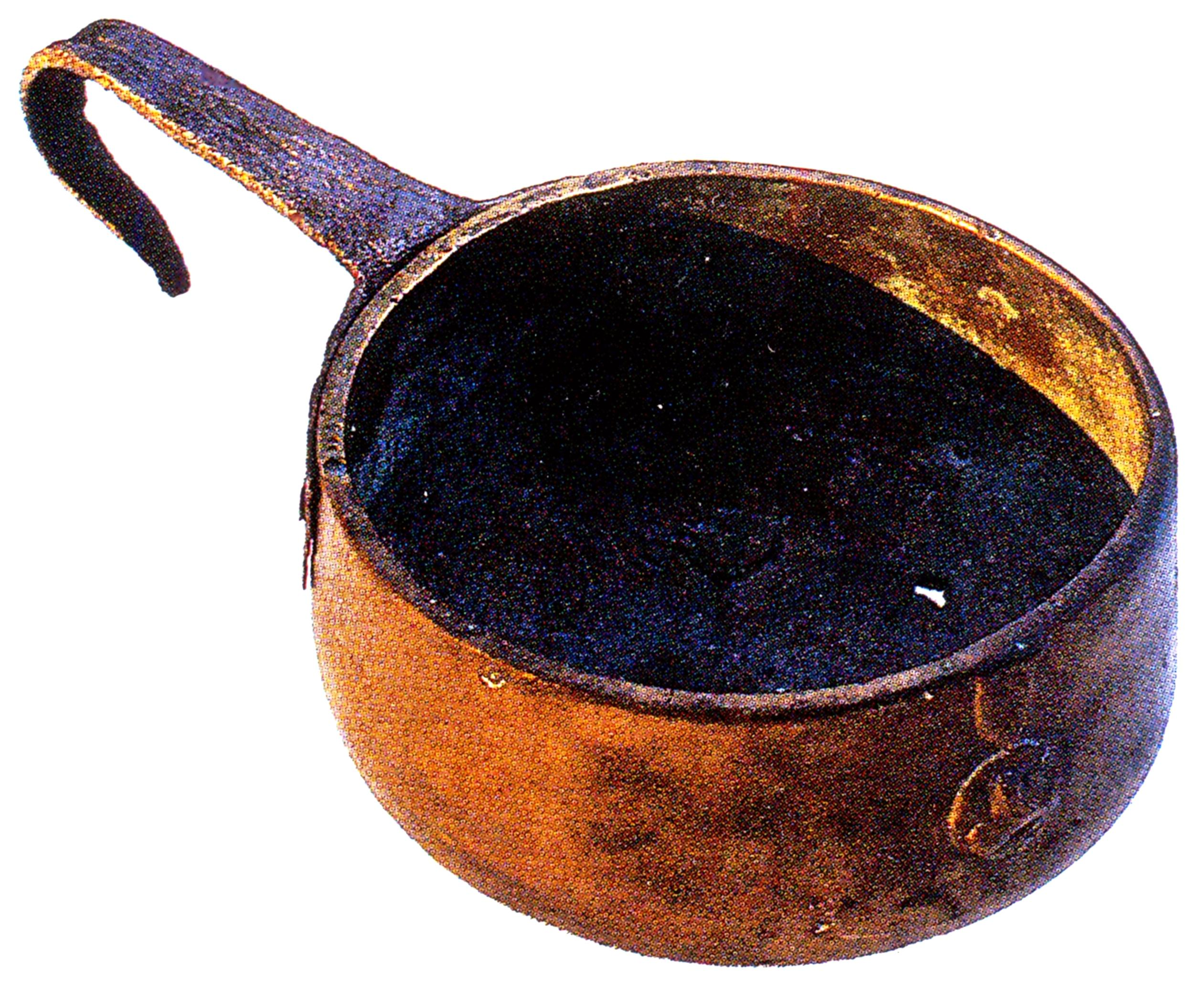 Il coppo del mugnaio, attrezzo in rame impiegato per raccogliere la farina dal mezale.