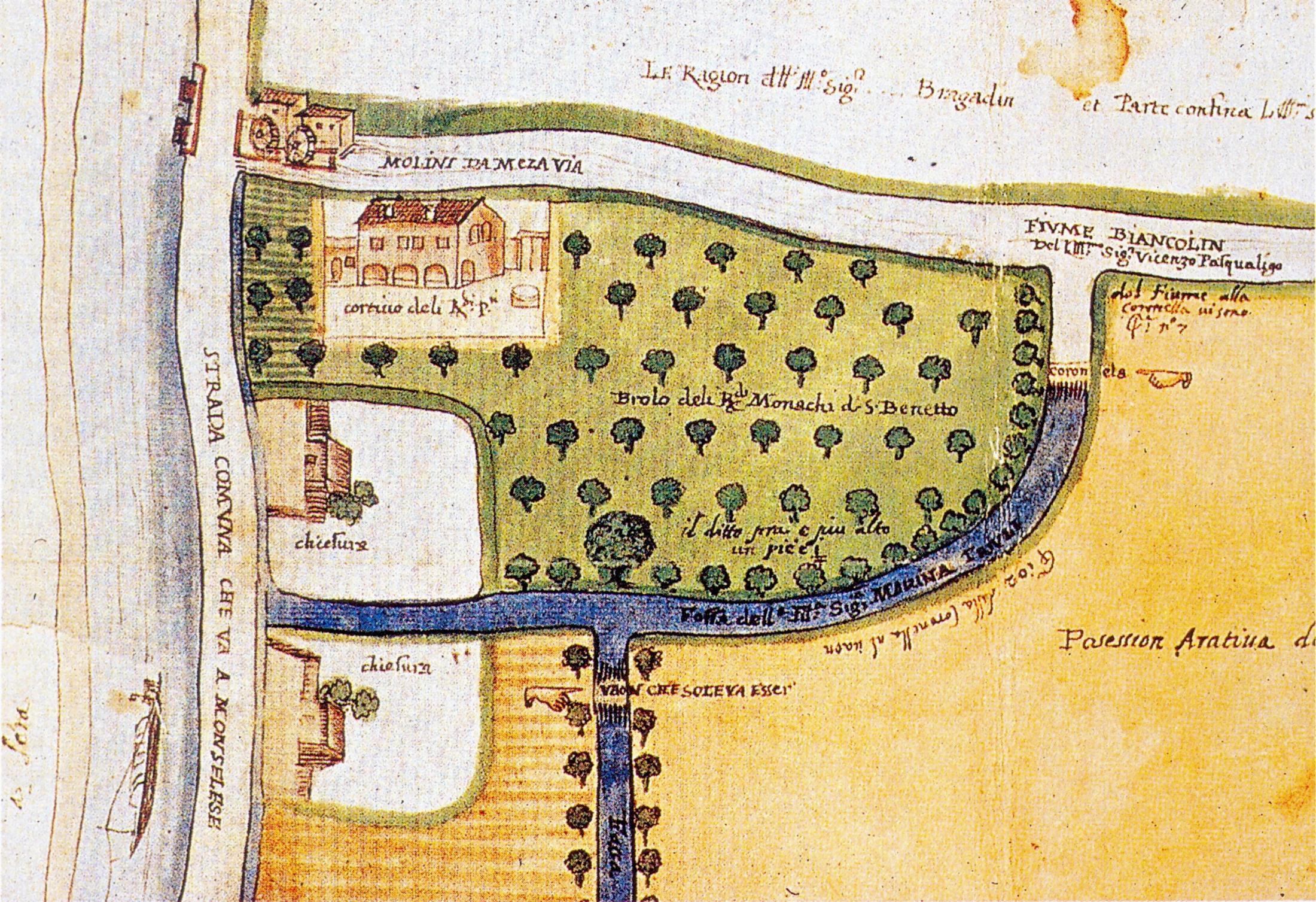 Mezzavia, 1670: il mulino attivo all'inizio del fiume Biancolin. Nel disegno, l'ampio brolo delimitato da una fossa d'acqua.