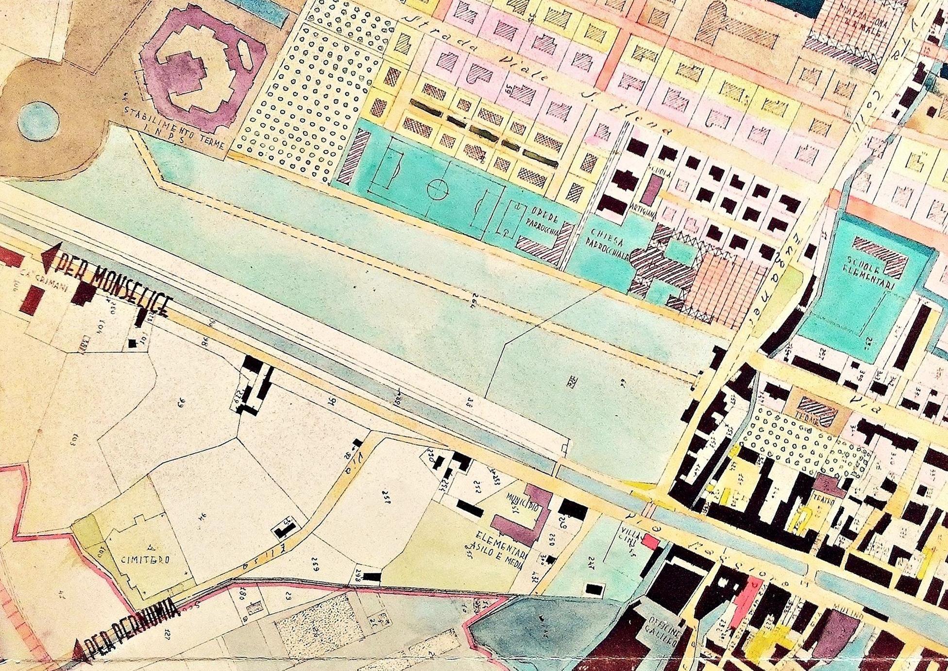 Planimetria con l'area interessata all'edificazione della nuova chiesa di Battaglia Terme e delle opere parrocchiali.