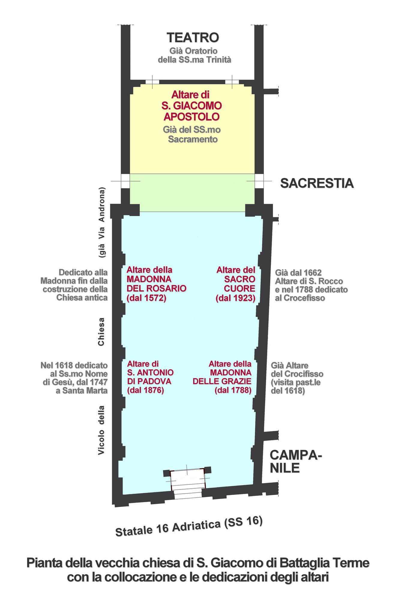 Pianta della vecchia chiesa di Battaglia Terme con la collocazione e le dedicazioni degli altari.