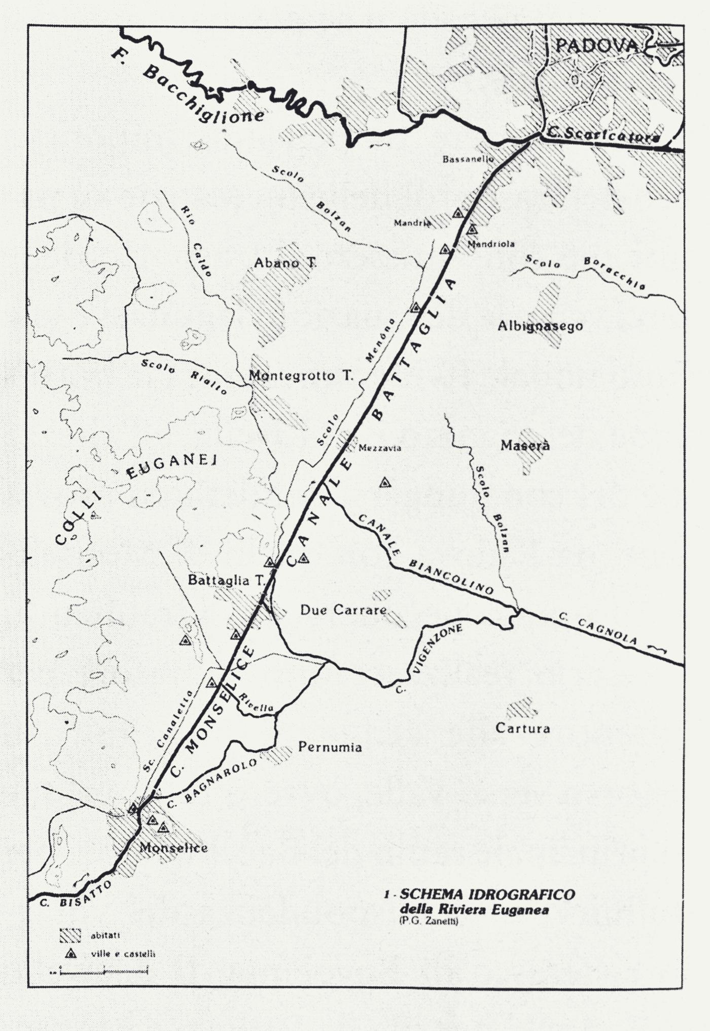 Il canale di Battaglia che lambisce i Colli Euganei e il connesso sistema idrografico.