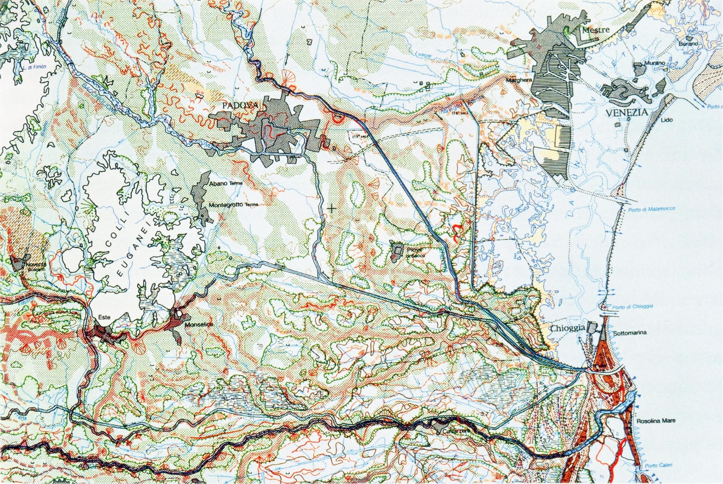 Carta geomorfologica della bassa pianura tra Colli Euganei e Laguna sud.