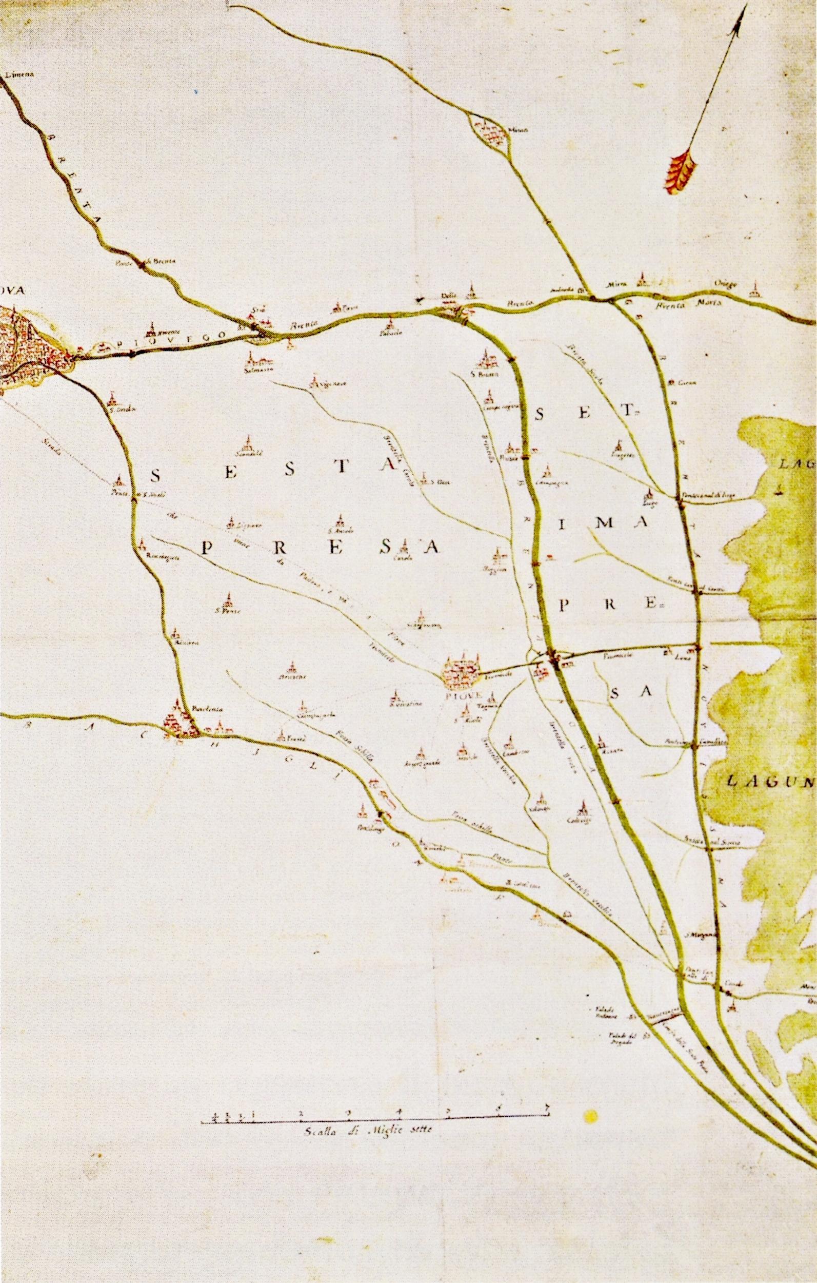 Mappa con i consorzi di Sesta e Settima Presa. Inizi XVII secolo.
