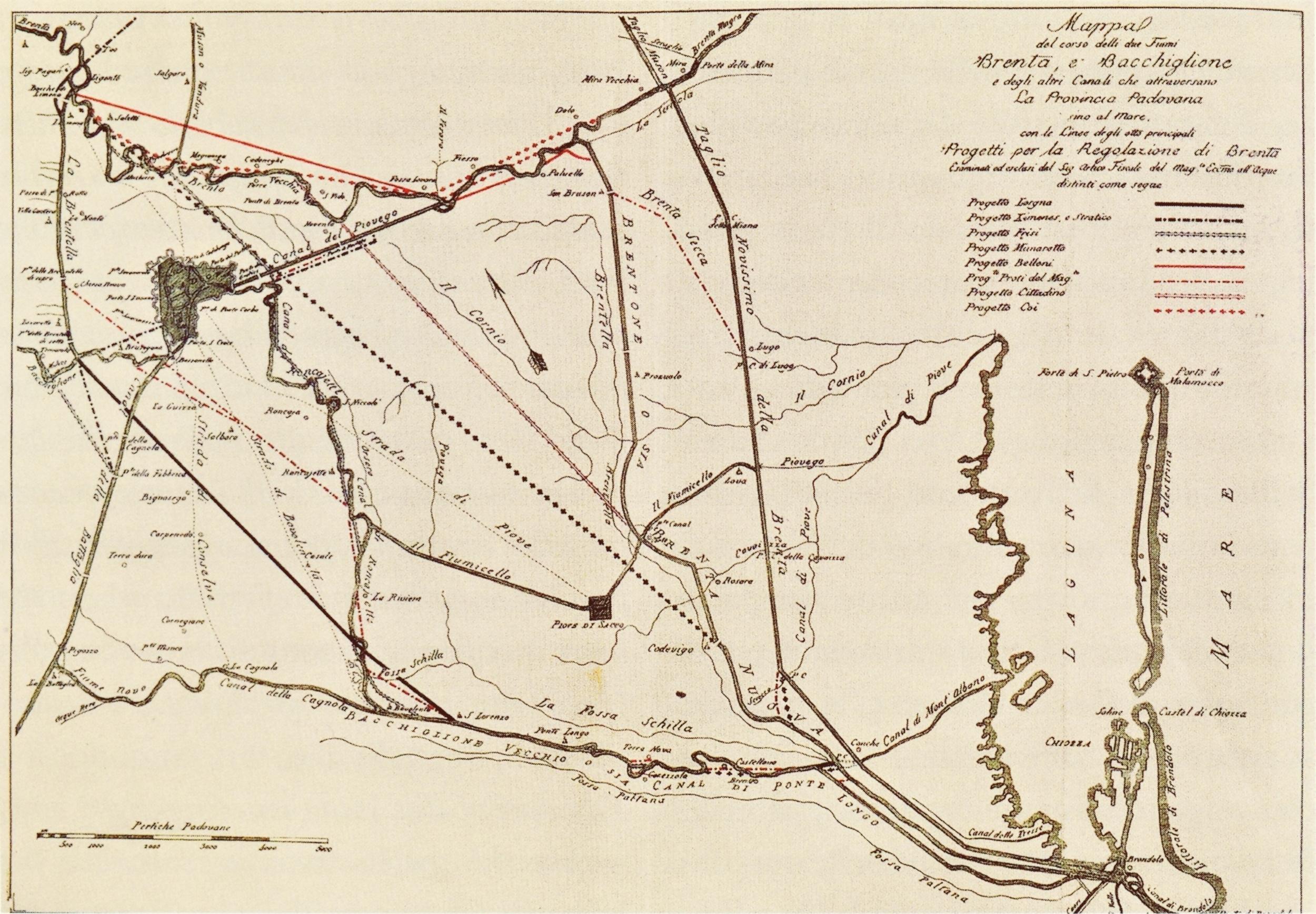 Mappa dei fiumi e dei canali tra la Provincia padovana e il mare.