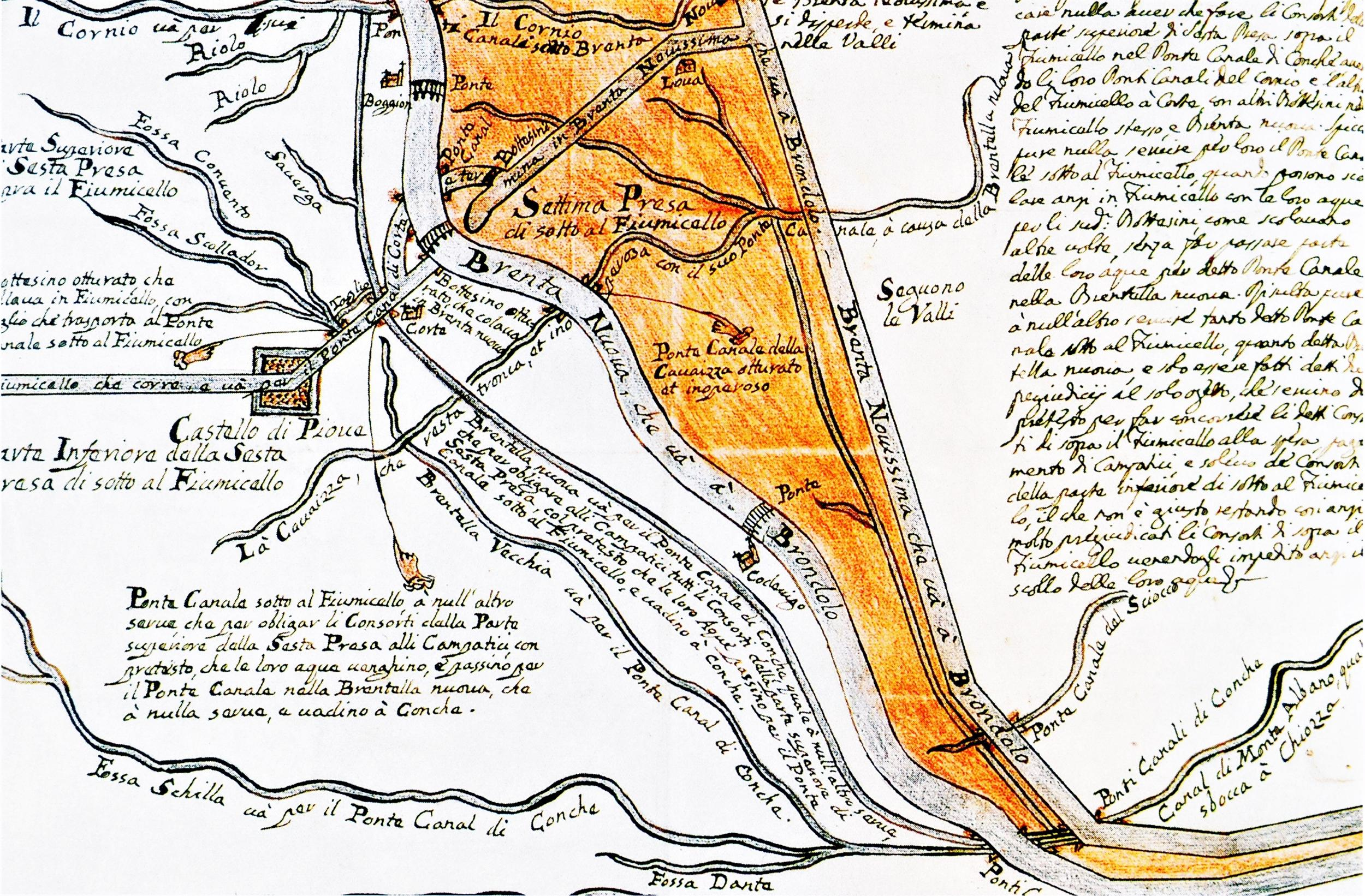 Nodo idraulico prima dello sbocco a Brondolo, disegno del XVIII secolo.